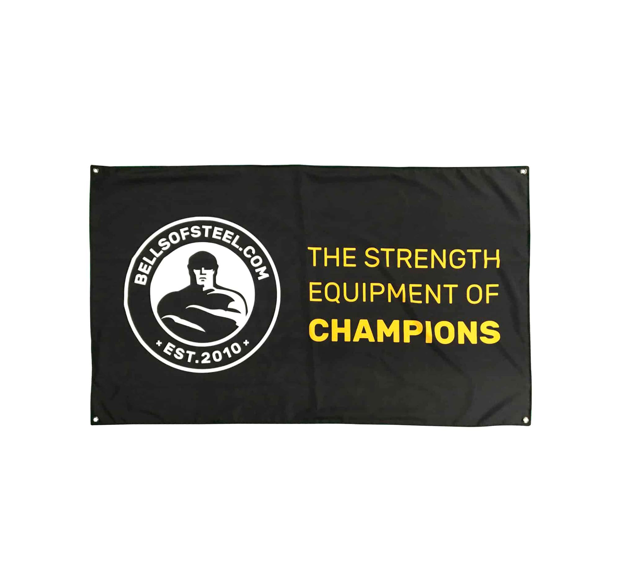 "Bells of Steel flag - ""the strength equipment of champions"""